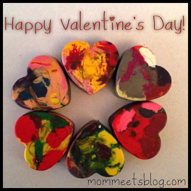Round up all those broken crayons and make these awesome heart crayons for Valentine's Day!