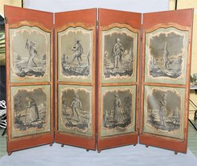 Four Panel Handpainted Folding Screen at 1stdibs