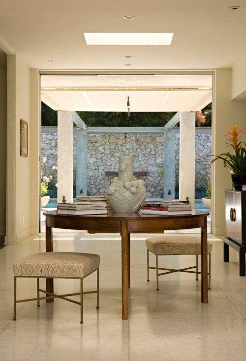 Elizabeth Dinkel Design   Entrances/foyers   Round, Walnut, Foyer, Table  Brushed