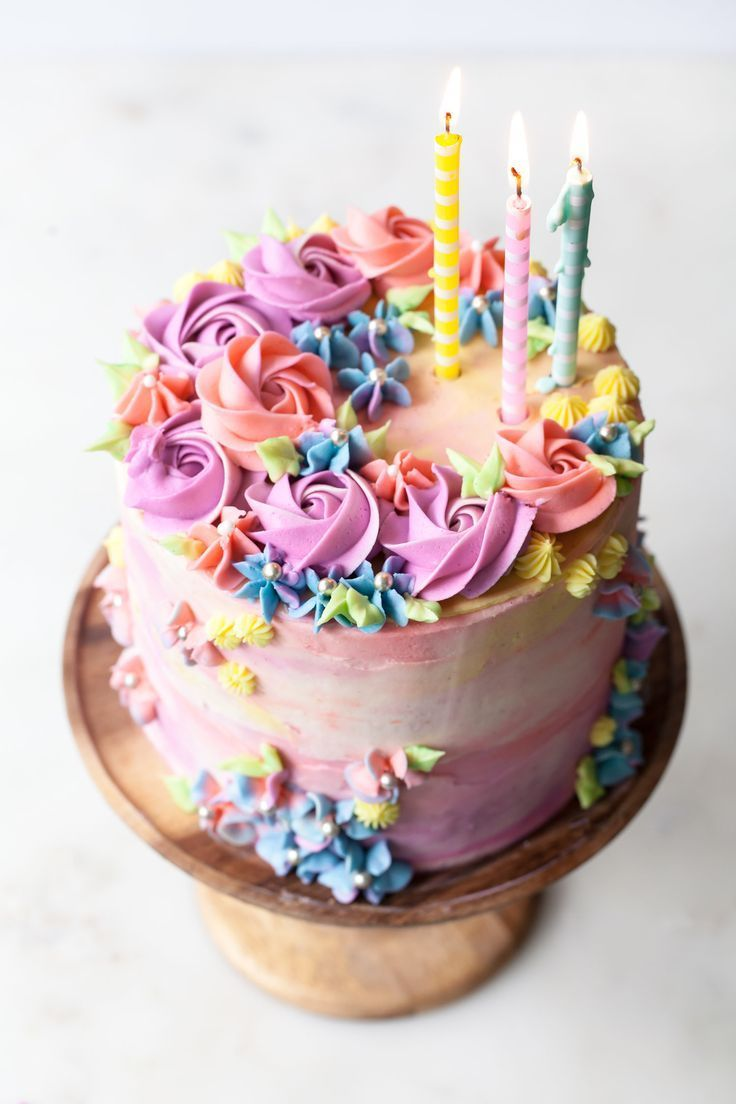 Pastel Buttercream Sprinkle Birthday Cake (With images