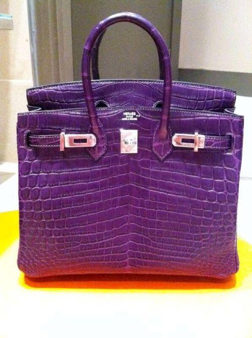 obregonjorgee:  Hermès Birkin in purple dyed crocodile leather. Worth total is $96,500.00 USD