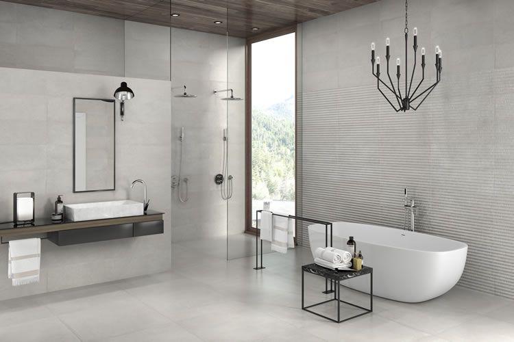 Keramische tegel beige betonlook voor badkamer l Carrelage grès