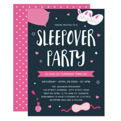 Pink sleepover party birthday invitation sleepover party and sleepover pink sleepover party birthday invitation stopboris Image collections