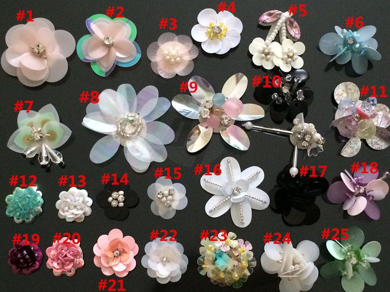 Sequins Rhinestone flower Shoes hat Embroidery Applique Patch cloth accessory