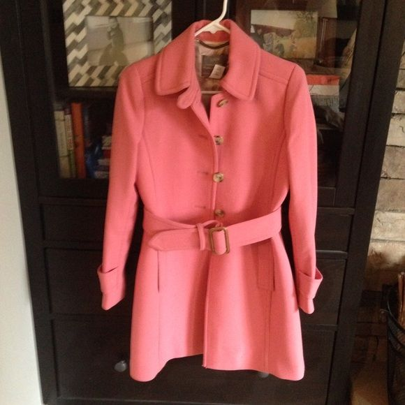 J crew pink wool coat Selling for a friend. EUC pink J crew wool coat with belt. Only worn twice, excellent condition, size 4 Petite. J. Crew Jackets & Coats Pea Coats