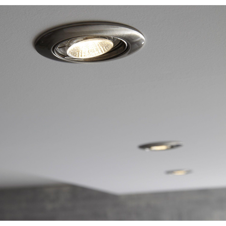 kit 3 spots led orientables encastrer clane 5w acier. Black Bedroom Furniture Sets. Home Design Ideas