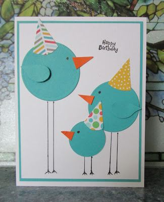 Handmade Birthday Card HEARTWARMERS FROM VICKI Punch Art Long Legged Circle Birds Wearing Party Hats Great Design Two Step Bird Punched Wings
