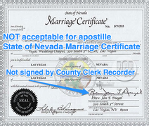 Not Acceptable For Apostille State Of Nevada Marriage Certificate