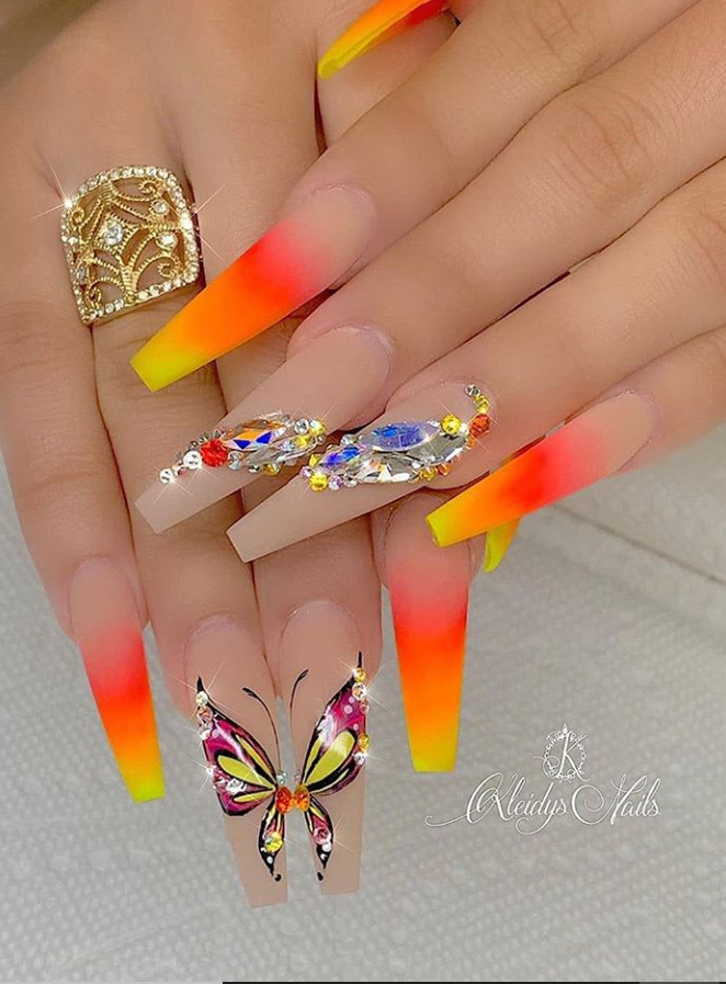 63 Fabulous Acrylic Coffin Nails Design This Summer Studded Nails Coffin Nails Designs Nail Designs