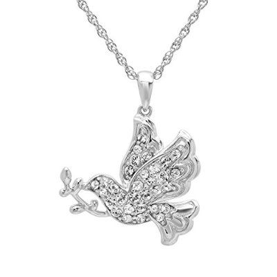 Sterling Silver Crystal Dove Pendant Necklace with Swarovski Elements buy today at mariescrystals.com