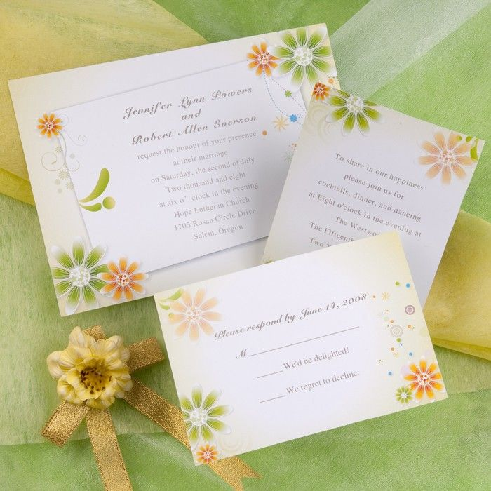 Yellow And Green Daisies Wedding Invitations AUS082 | Beautiful ...