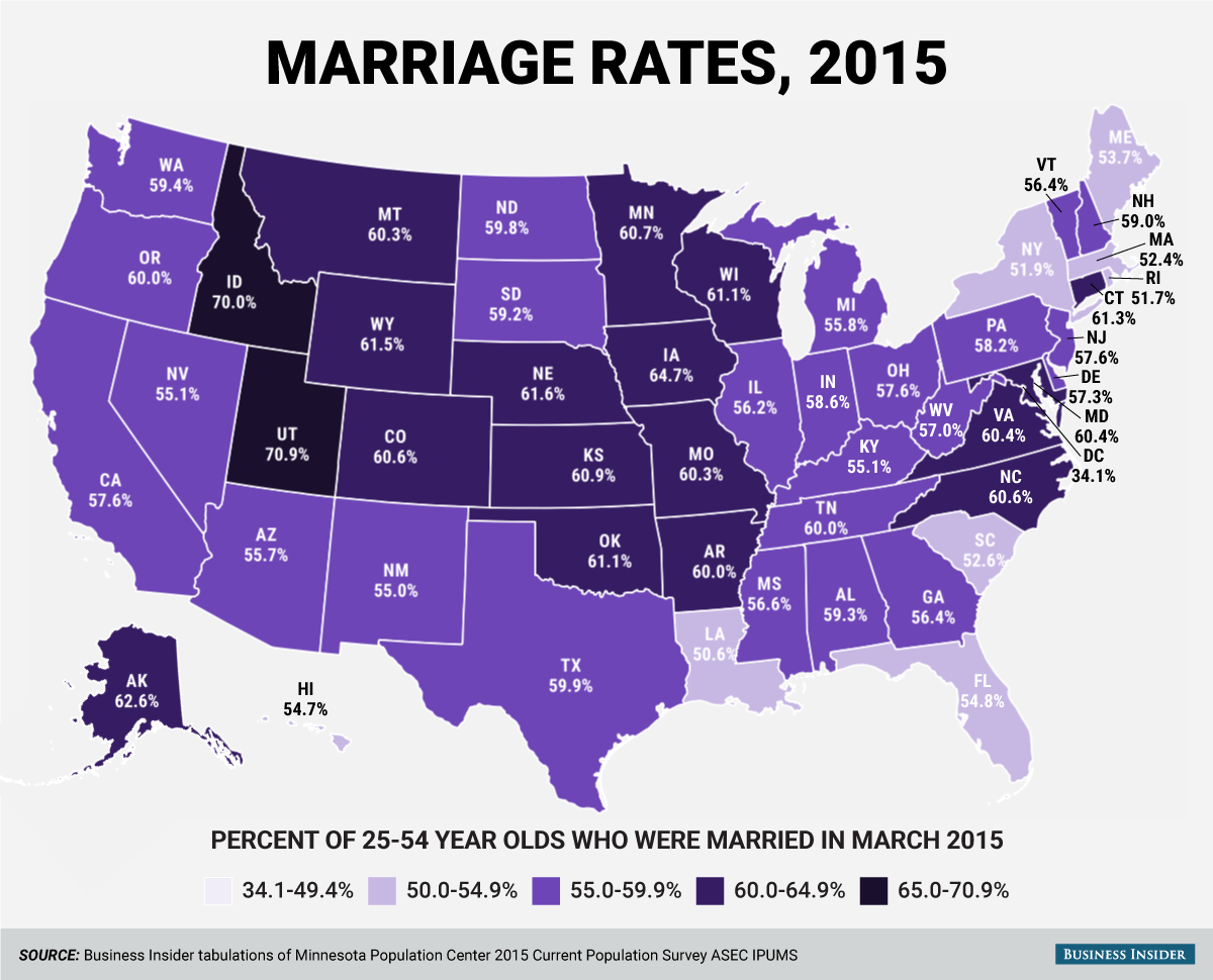 2 maps show how marriage has changed in America during the