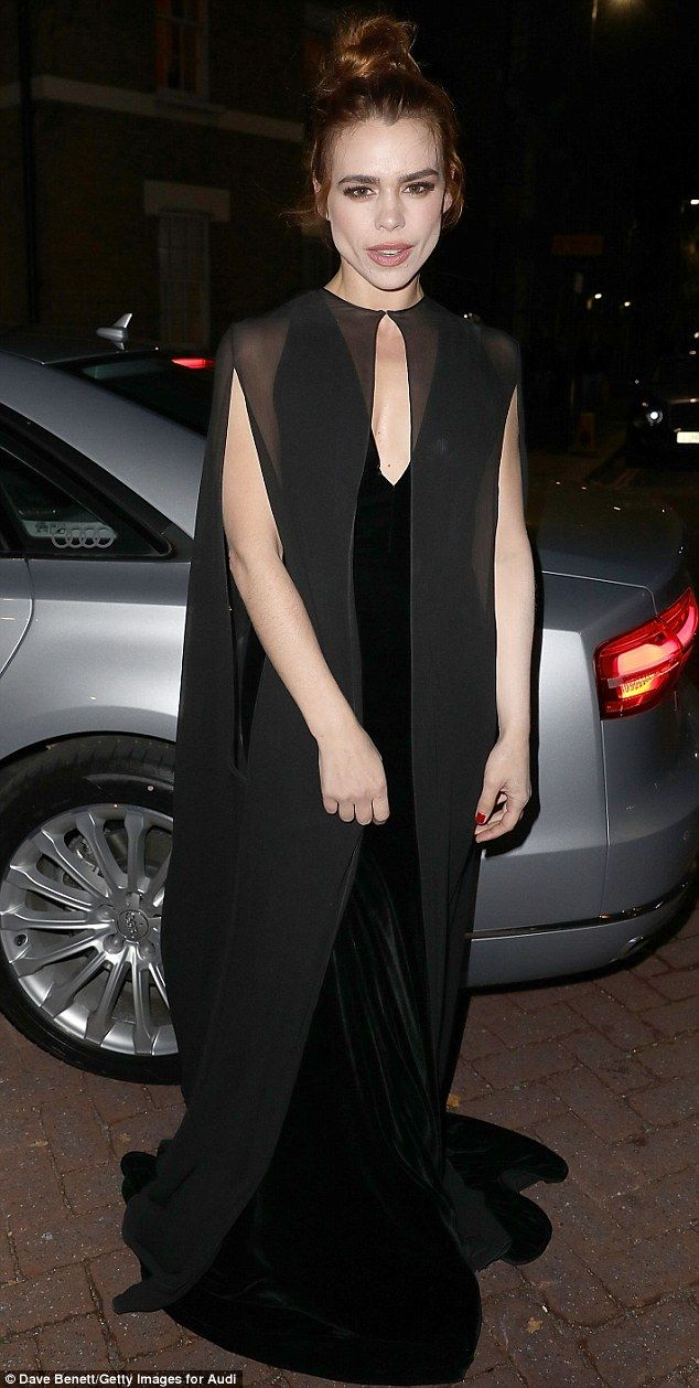 Billie Piper wows in black gown as she enjoys a joke with