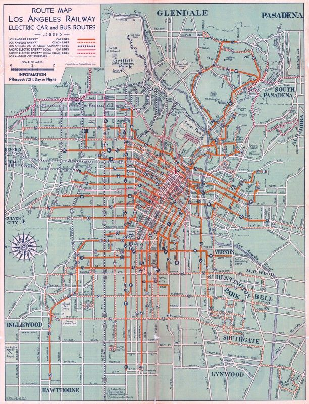 Electric car and bus routes in L.A. (1934) http://www.bigmapblog.com/2012/electric-car-and-bus-routes-in-l-a-1934/  #map of public #transit in #losangeles . #LA