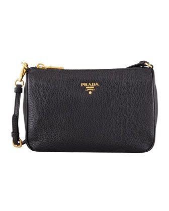 Daino Small Shoulder Bag, Black by Prada at Neiman Marcus.