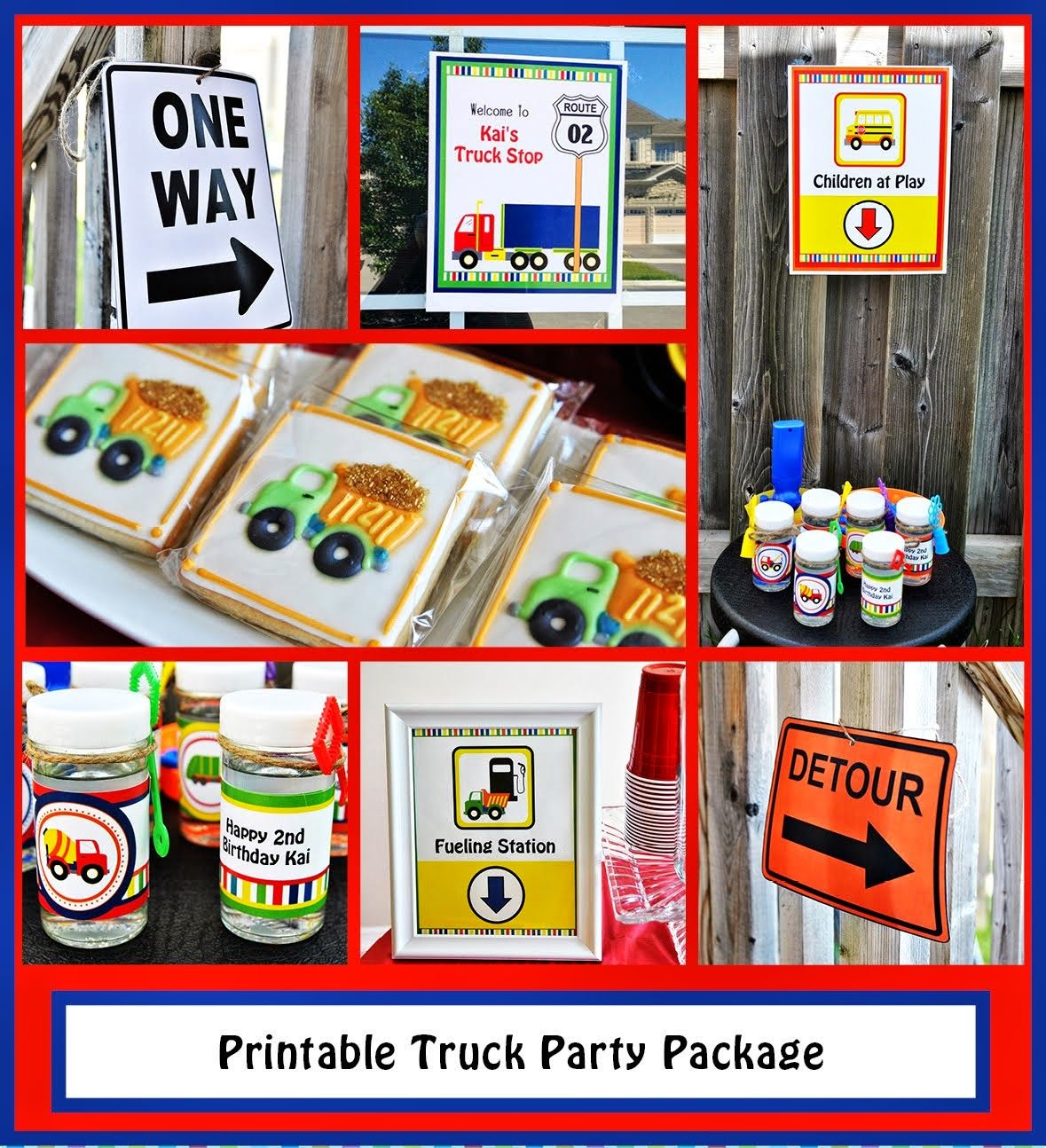printable truck party package printable road signs water labels