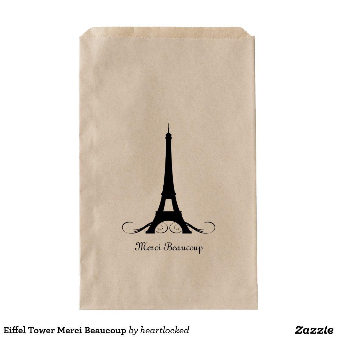 Eiffel Tower Merci Beaucoup Favor Bag | Favor bags, Favors and ...