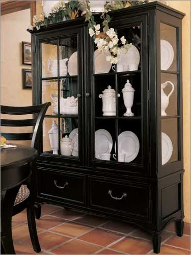 China Cabinets Portofino Basque Black Display Cabinet By Stanley Furniture Dining