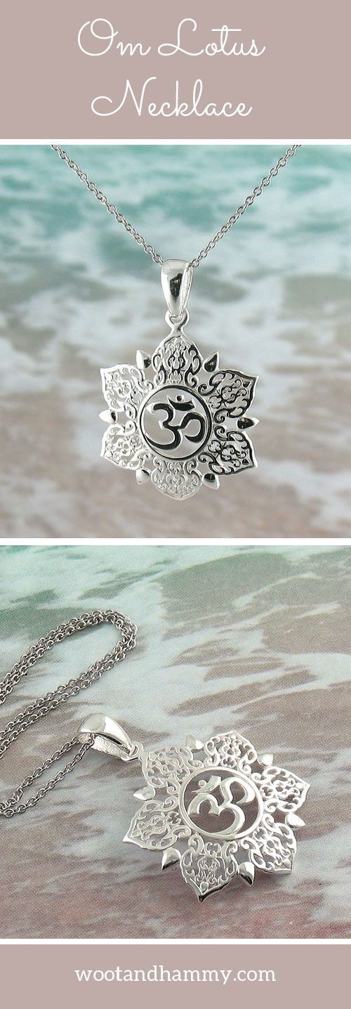 Ethereal Om Lotus Necklace In Sterling Silver Lotus Necklace Om