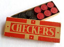Vintage Set of Royal 24 Wooden Checkers, The Embossing Co., Albany NY,Orig. Box $9.99