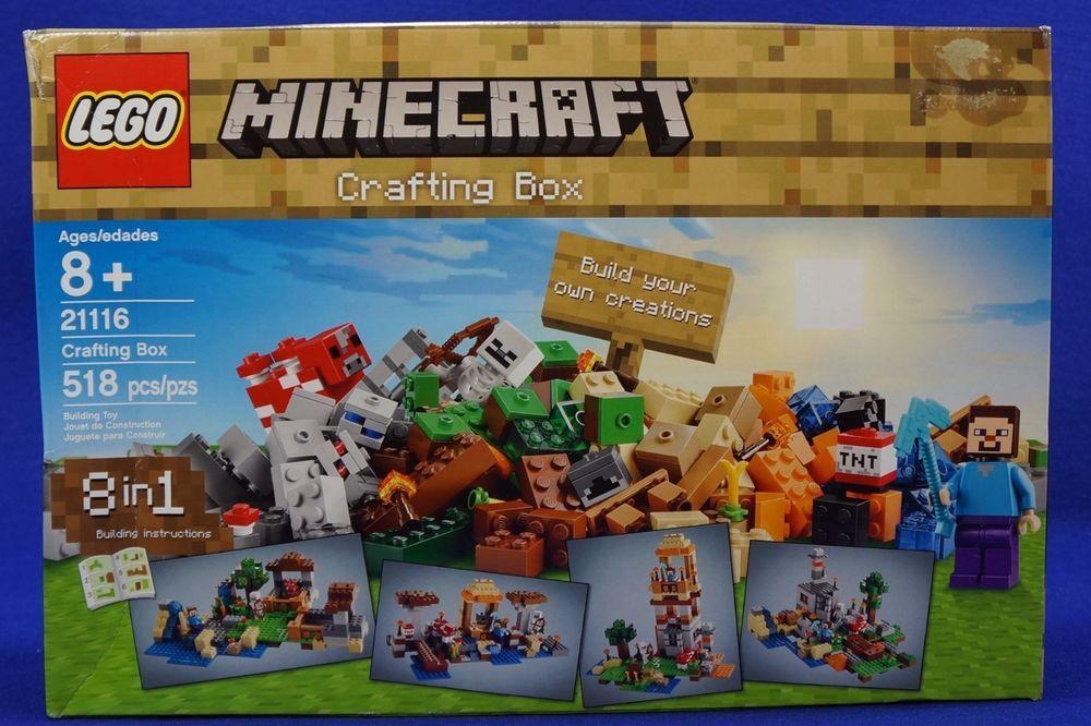 Lego Minecraft Crafting Box 21116 518 Pcs Steve Skeleton Mooshroom New Sealed Lego Minecraft Craft Box Creative Toys For Kids