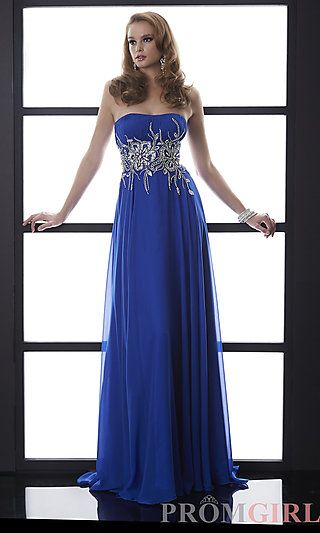 Long Blue Strapless Formal Gown by Jasz at PromGirl.com A-Line
