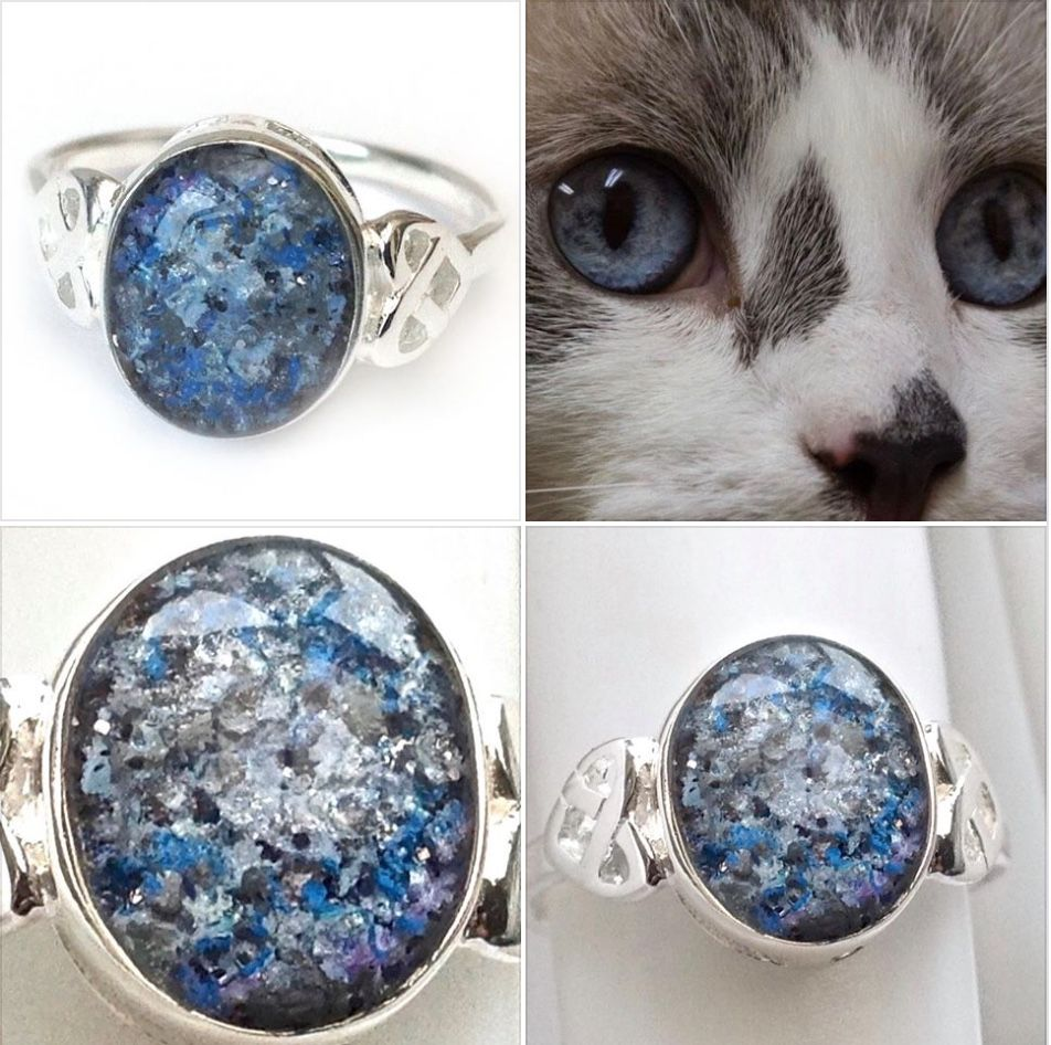 Glass To Ashes Cat Dog Funeral Memento Necklace 925 Silver Blue Round Pet Memorial Necklace Sterling Silver Round Glass Keepsake Pendant