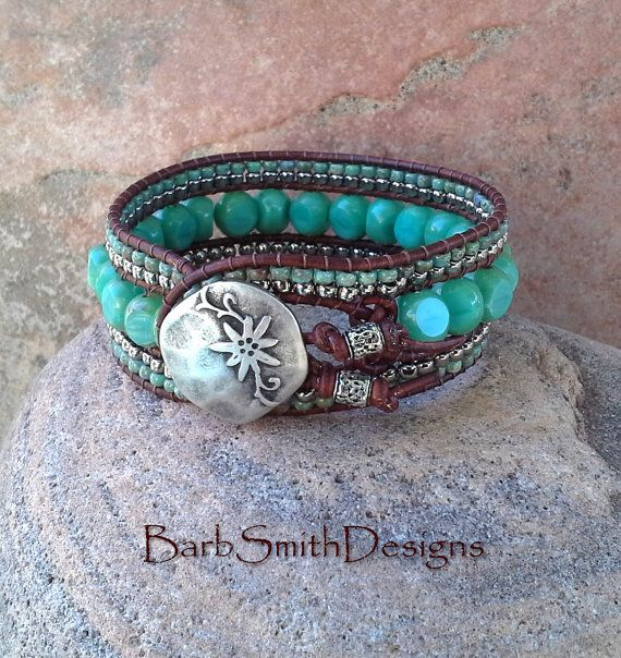 Turquoise Silver Beaded Leather Cuff Bracelet  by BarbSmithDesigns