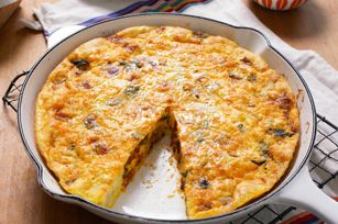 Chorizo, Potato & Poblano Omelet recipe - This potato omelet gets a mighty flavor boost from chorizo and poblano chiles. Serve it with tortillas and salsa and watch it disappear.
