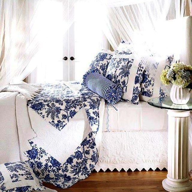 Bons sonhos... #quarto #cama #azulebranco