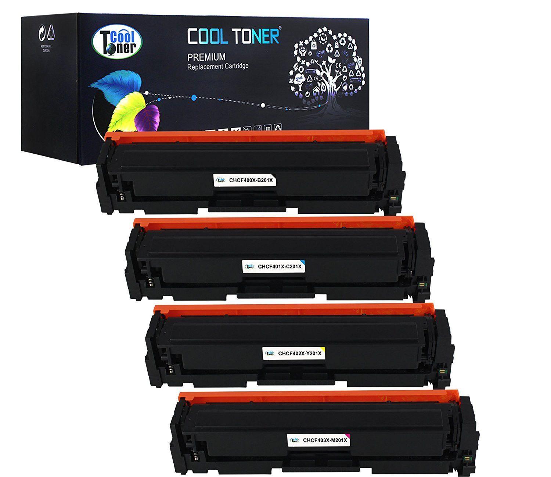 Cool Toner 4 Pack Black Cyan Yellow Magenta Compatible Toner Cartridge Replacement For Hp 201x Cf400x Cf401x Cf402x Cf403x Used For Hp Colo Toner Cartridge Printer Magenta