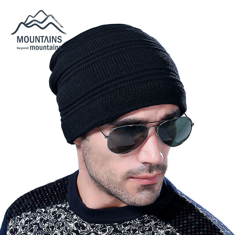 Knitted Hat for Mens Winter Wool Beanies Cap Casual Solid Color Sets Headgear Hats for Men