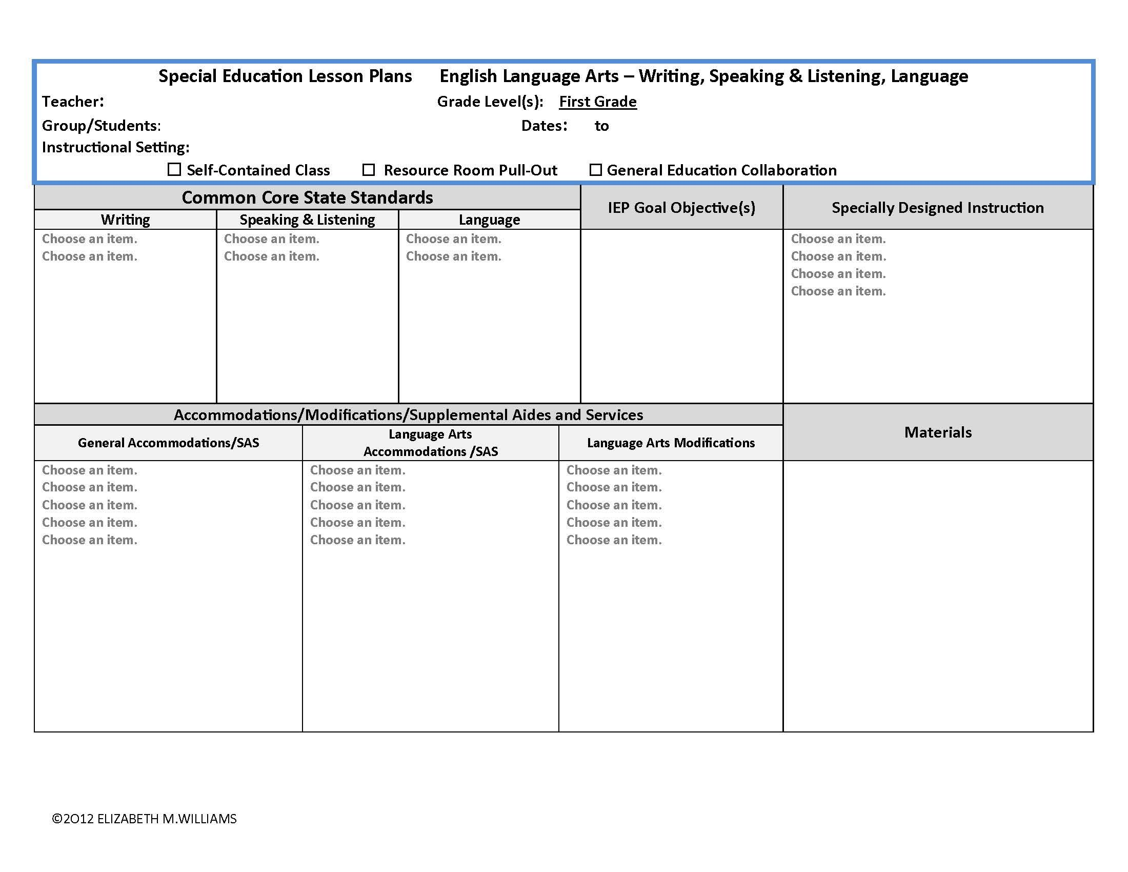 Common Core State Standards Aligned Interactive Special Education