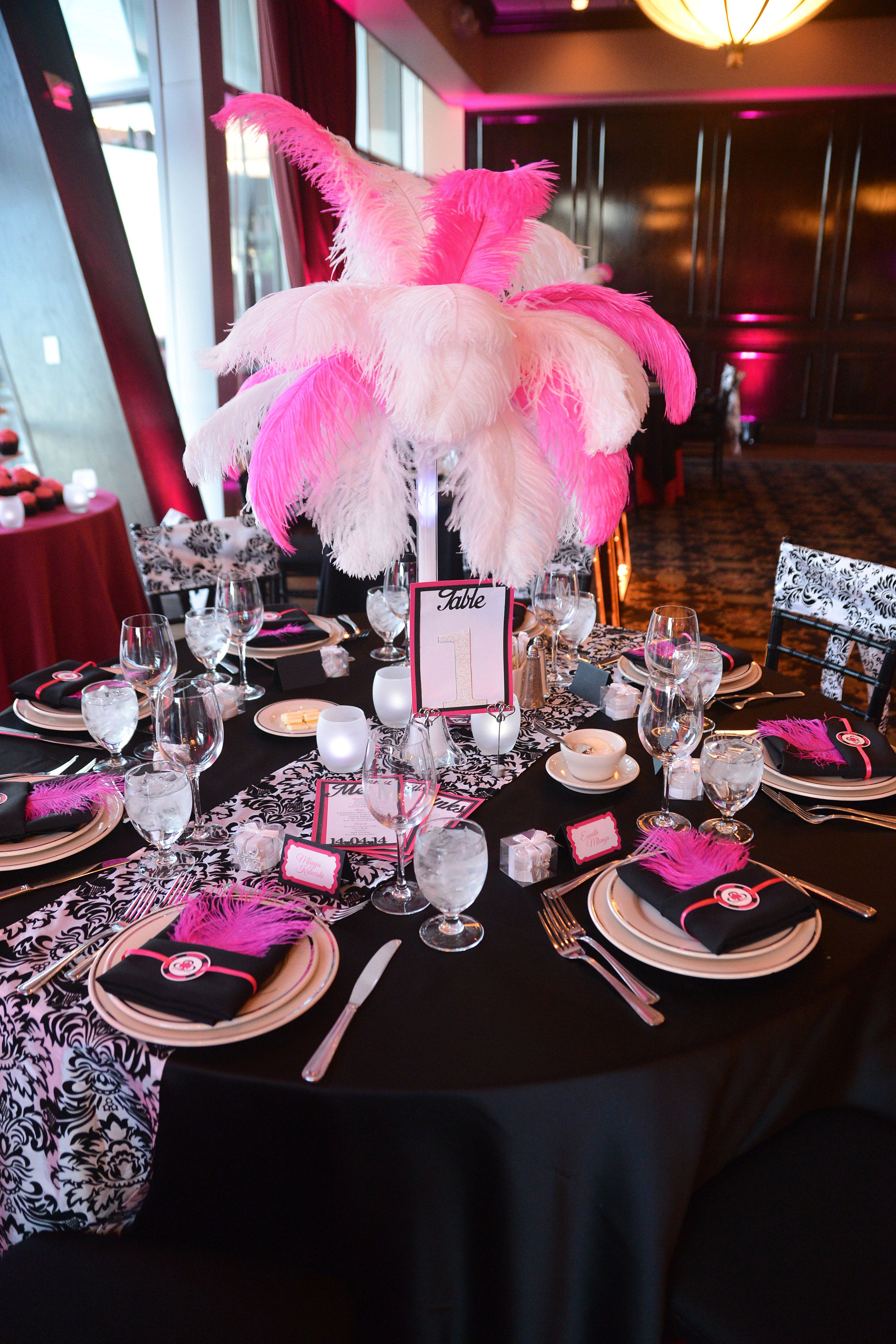 Ostrich feather centrepieces black and white damask table for Black table centrepieces