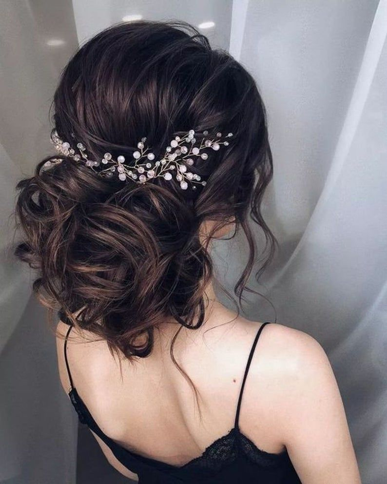 Wedding Hair Vine Extra Long Crystal and Pearl Hair Piece Flower Headpiece Bridal Jewelry Crystal Wreath Accessories for Bride Blush Pink