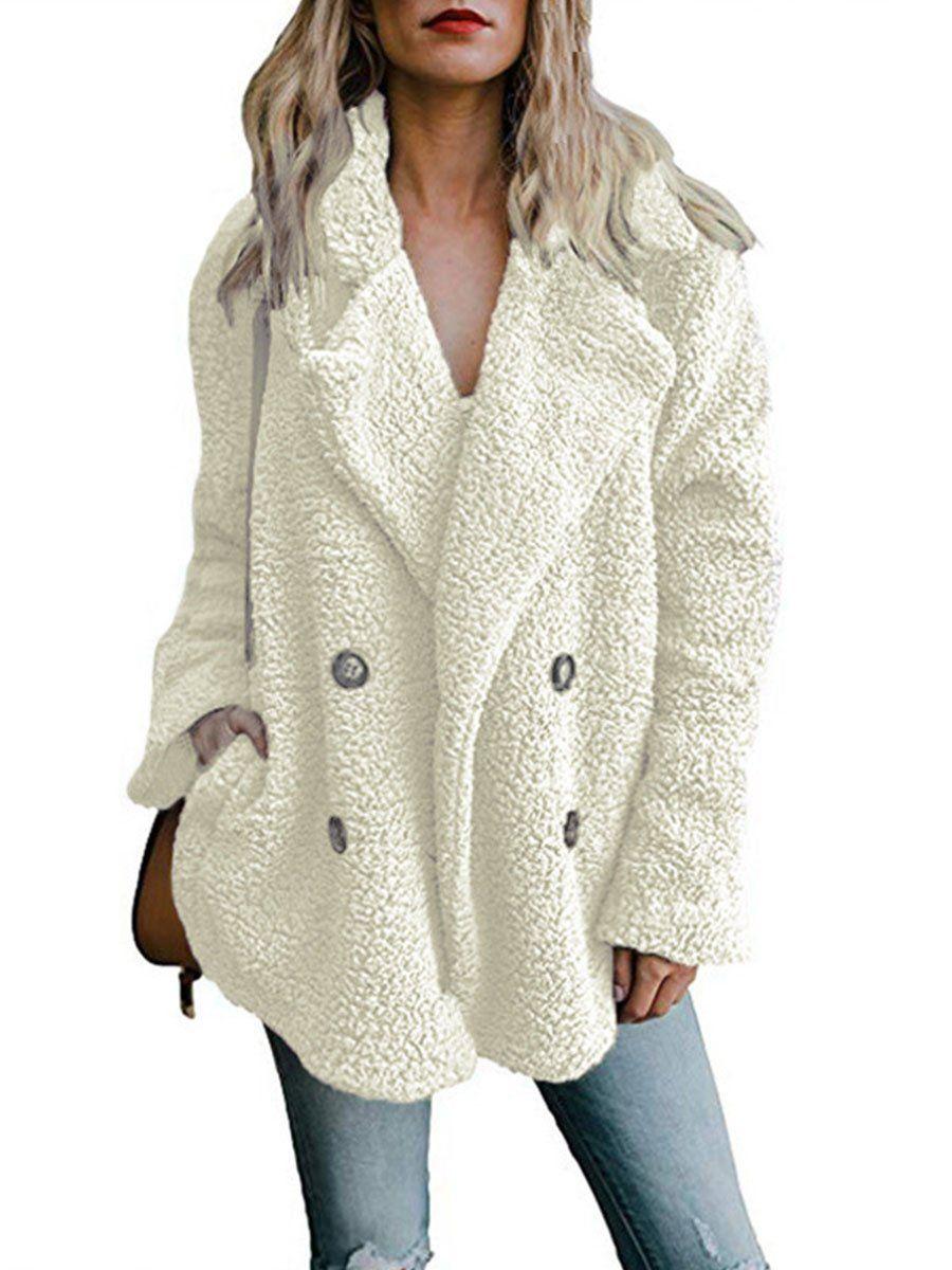 Dcharme Womens Faux Fleece Long Sleeve Jacket Warm Fuzzy Open Front Cardigan Outwear Coat with Pockets