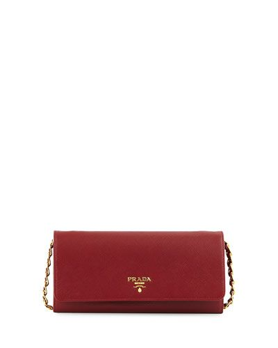 0fb9f7060b39 Designer Handbags & Snakeskin Bags at Bergdorf Goodman. L0KDD Prada  Saffiano Leather Wallet-on-Chain, Red