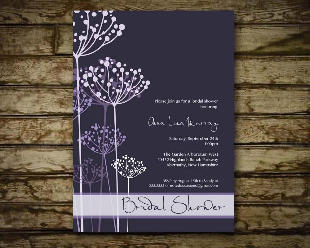 etsy wedding shower invitations Printable Bridal Shower Invitations Purple Floral Flowers Wedding Shower Invitations 20 00 via Etsy