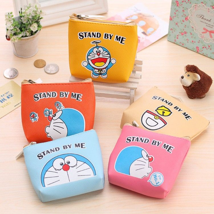 Cartoon Image Doraemon Coin Bag Change Purse For Kids Birthday Party