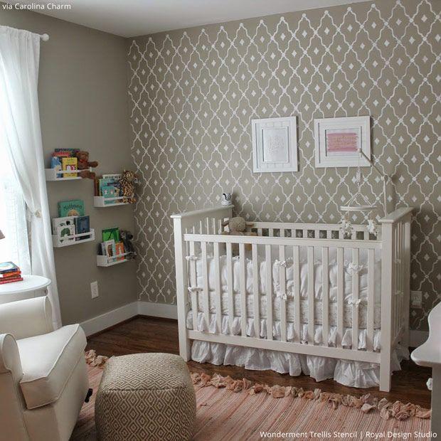 5 Baby Room Décor Accent Walls Ideas With Designer Nursery Stencils Royal Design Studio