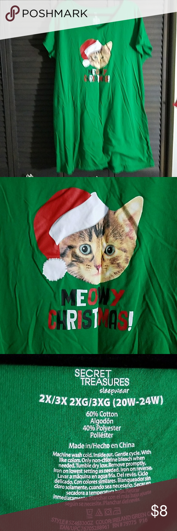 """Cute Sleep Shirt Super cute sleep shirt. Short sleeves. Has a cat and says meowy Christmas. In perfect used condition. Bust is 27"""" flat. Length is 37"""". secret treasures  Intimates & Sleepwear Pajamas"""
