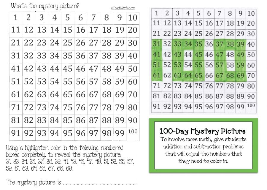 100 Chart Mystery Picture, highlight these numbers and reveal the - number chart template