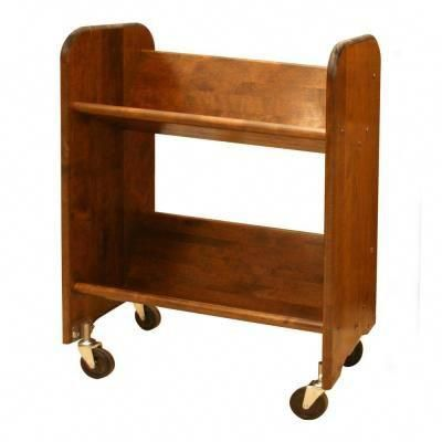 The Catskill Craftsmen Bookmaster 2-Shelf Bookcase features two 27 in. wide tilted shelves that allow books and other media to be displayed binding out. This mobile bookcase has 3 in. heavy-duty wheels and is constructed from solid birch with a walnut-stained lacquered finish. This truck is ideal for your home office or to keep your cookbooks in the kitchen. #WoodworkingPlansBed