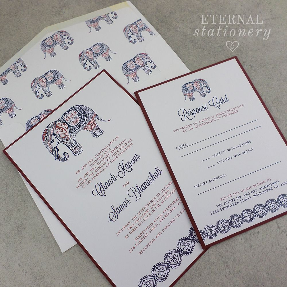 Modern Indian Wedding Invitation. Paisley Elephant. Created by ...