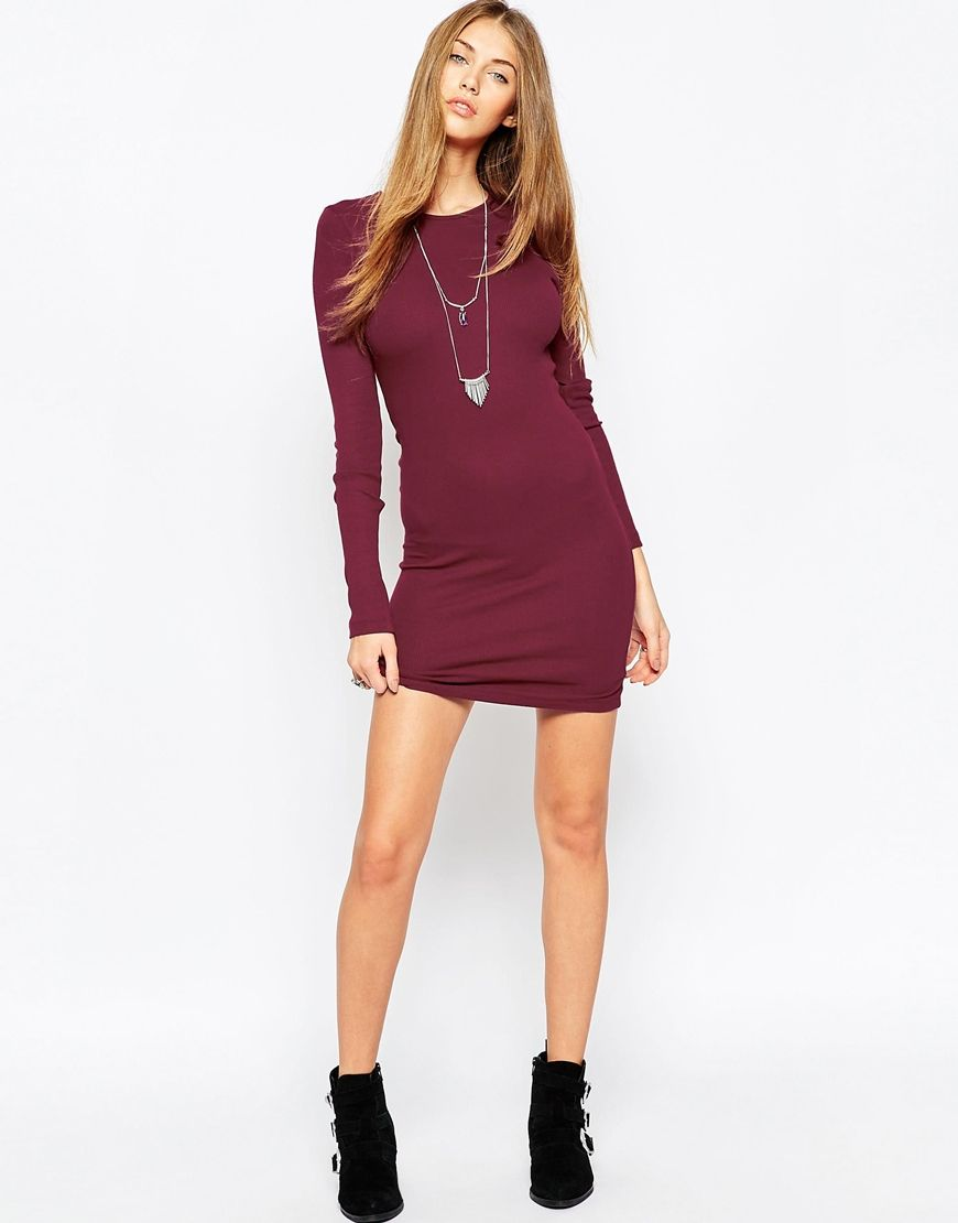 ff9a92abf3f Image 4 of ASOS Mini Bodycon Dress with Long Sleeves in Rib
