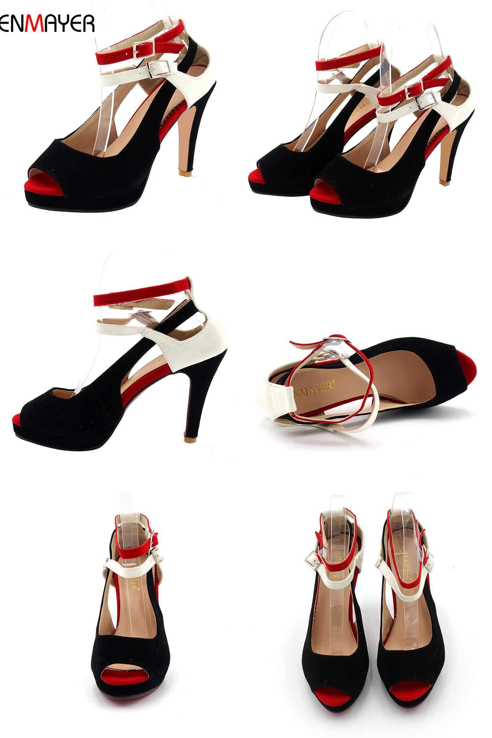 [Visit to Buy] ENMAYER Summer Big Size 2017 New  High Quality Fashion Women's Pumps Shoes Lady High Heels Ladies Pumps Woman Dress Shoes #Advertisement