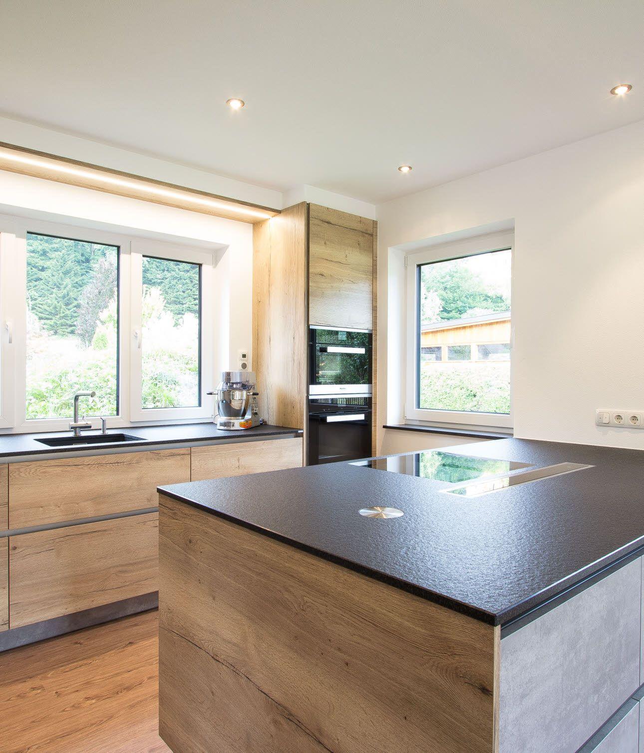 Küche in Betonoptik mit viel Stauraum  Küche betonoptik, Küche