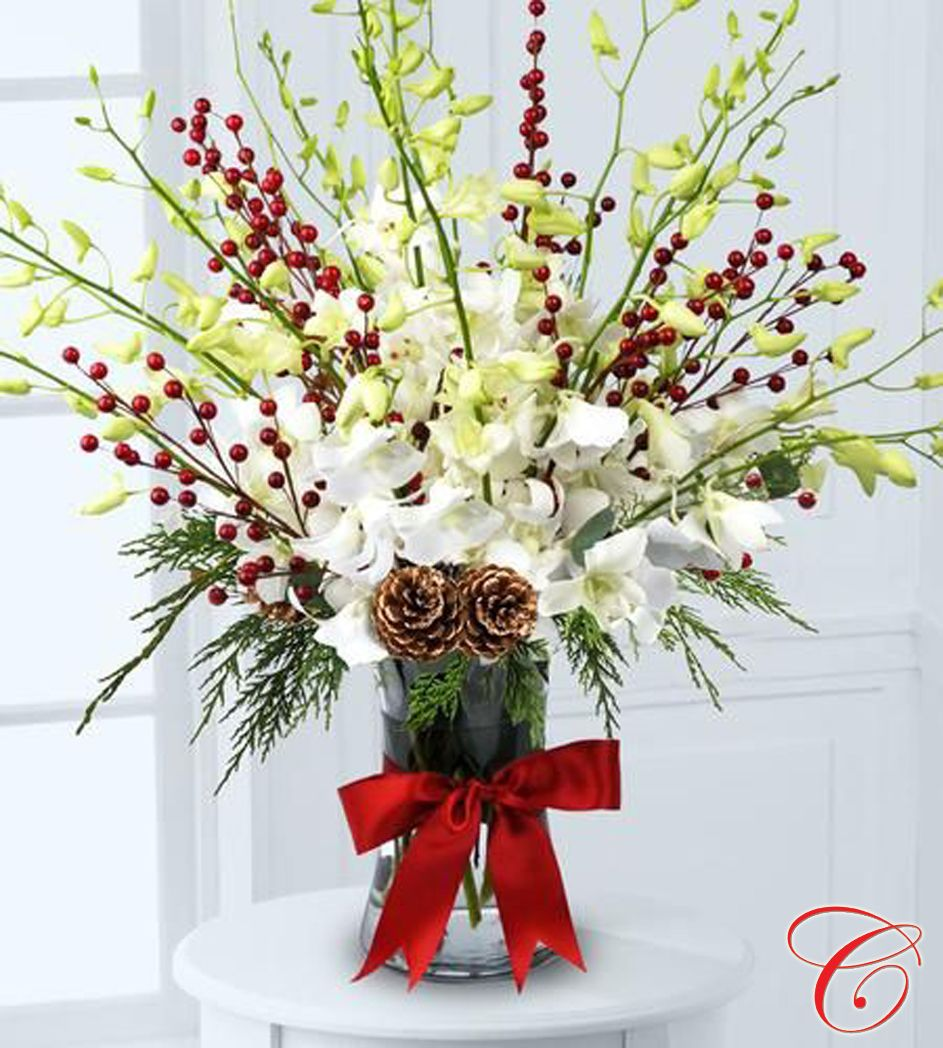 Orchids and berries send seasonus cheer with our elegant long