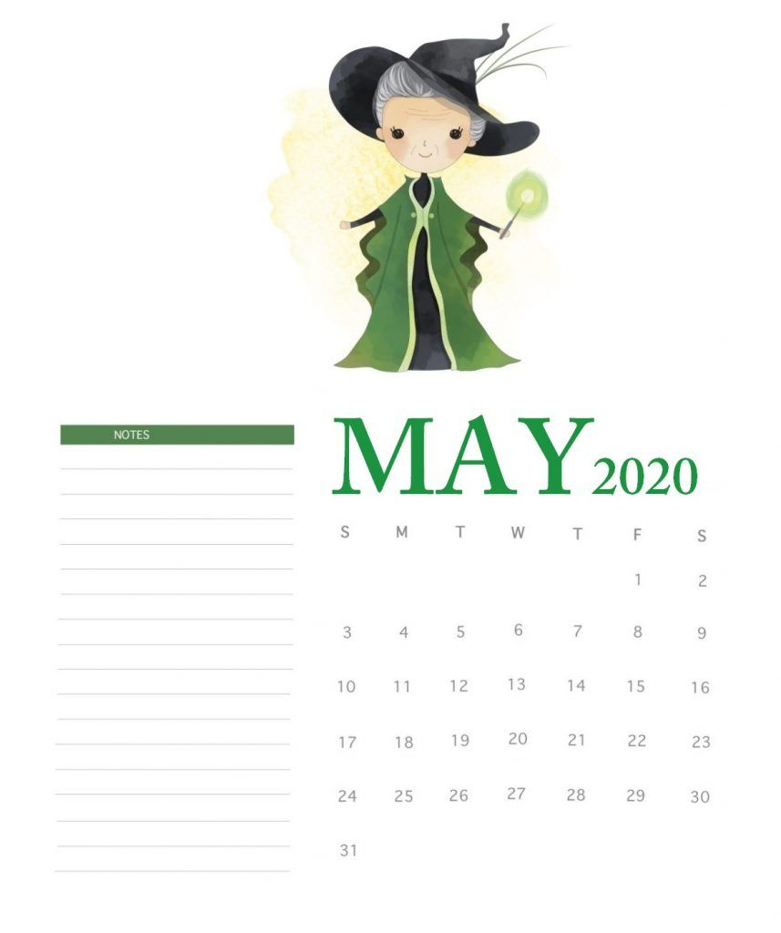 Harry Potter 2020 Monthly Calendar