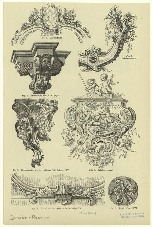 Rococo architectural ornaments graphic design for Baroque architecture elements
